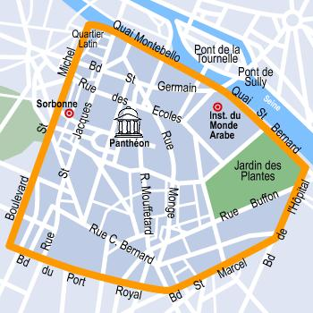 latin quarter map paris