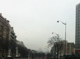 Paris in November with cloudy weather