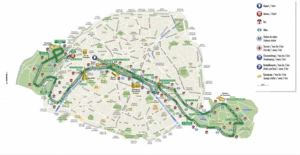 Paris marathon 2019 route