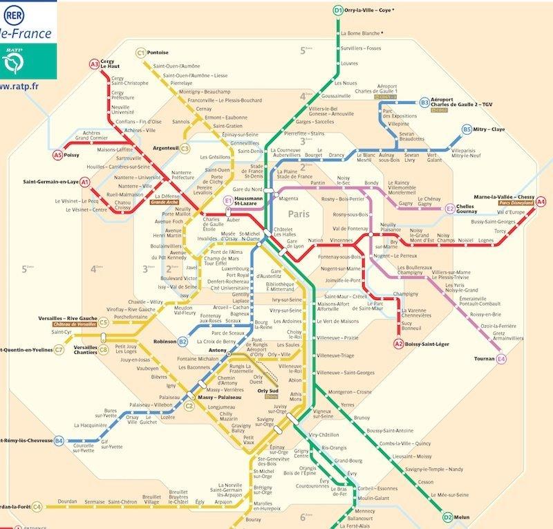Carte Rer Ile De France.Paris Metro Map Zones Tickets And Prices For 2019