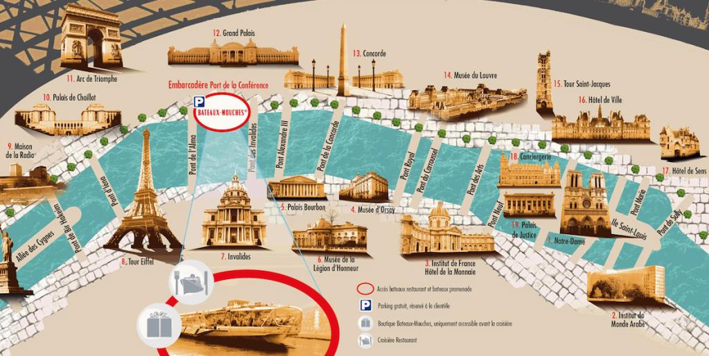 Paris Bateaux Mouches Lunch Cruise route